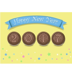 Happy new year 2017 chocolate cookies vector