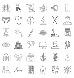 Health institution icons set outline style vector