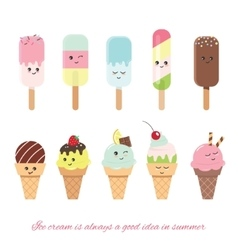 Kawaii ice cream set Sweets isolated on white vector image