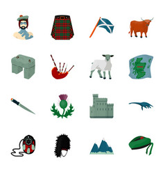 Kilt bagpipes thistles are national subjects of vector
