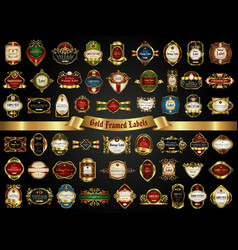 large collection of colorful gold-framed labels vector image