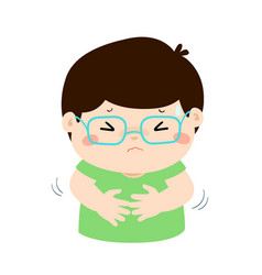 Little boy having stomach ache cartoon vector