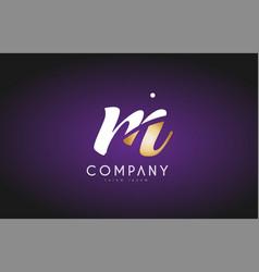 m alphabet letter gold golden logo icon design vector image