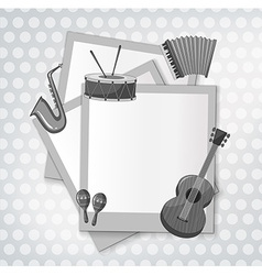 Notecard with music instrument in black and white vector
