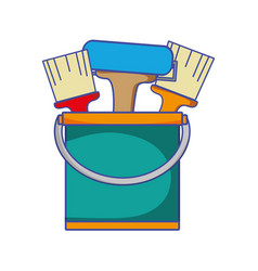 paint can with painter tools inside vector image