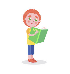 redhead boy stands and reads book isolated vector image vector image