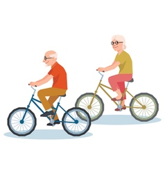 Senior man and a woman riding on a bicycle vector image vector image