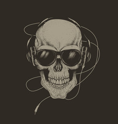 Skull in headphones and sunglasses vector