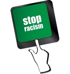 Stop racism concept by keyboard keys vector