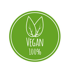 vegan logo round eco green logo vegan vector image vector image