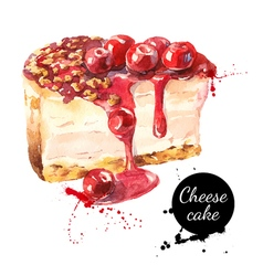 Watercolor sketch cherry cheesecake dessert vector