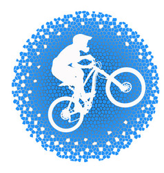 white silhouette of a cyclist on blue background vector image vector image