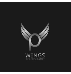 Wings P letter logo vector image vector image