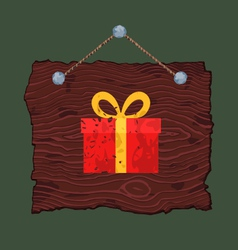 Wooden Sign with Gift vector image vector image