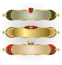 Set of frames oblong shape with a gold rim vector