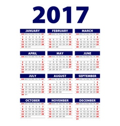 Calendar 2017 week starts from sunday flat design vector