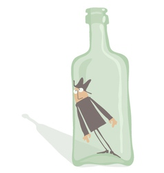 Drunkard inside the bottle vector
