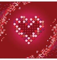 Heart of the stars on a red background vector image
