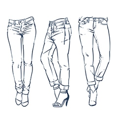 Hand drawn fashion design jeans outline vector