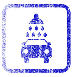 Car wash framed textured icon vector