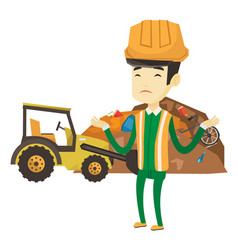 worker and bulldozer at rubbish dump vector image