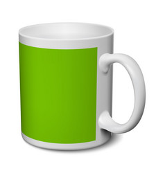 Gray and green mug realistic 3d mockup on a white vector