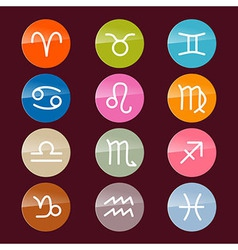 Zodiac horoscope circle colorful symbols vector