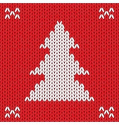 Christmas knitted background with tree vector