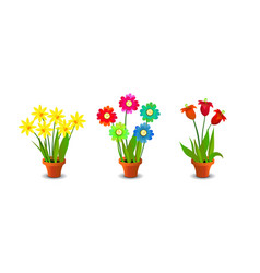 Bright colorful flowers clip art vector