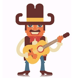 Cowboy with guitar isolated on white vector