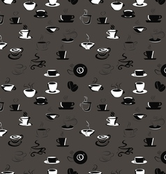 Seamless pattern with coffee beans and cups vector