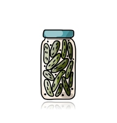 Bank of pickled cucumber sketch for your design vector