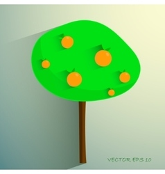 Simple stylized orange tree on light background vector
