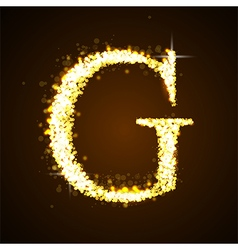 Alphabets g of gold glittering stars vector