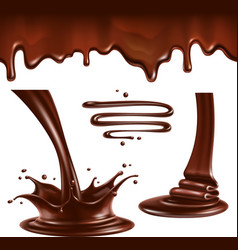 Liquid chocolate splashes and drops vector