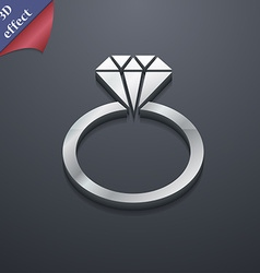 Diamond ring icon symbol 3d style trendy modern vector