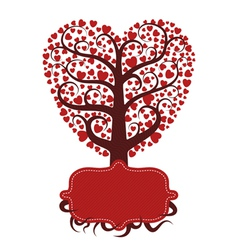 Love tree with banner vector
