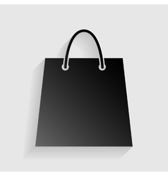 Shopping bag  black paper with shadow vector