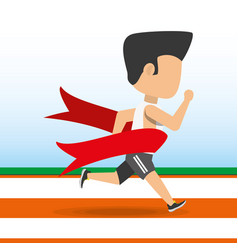 Athlete man running in competition championship vector
