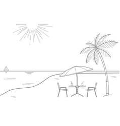 black and white drawing striped beach umbrella vector image vector image