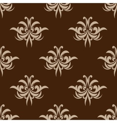 Brown seamless floral pattern in damask style vector image vector image