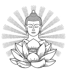 Buddha and Lotus with beam of light vector image