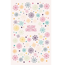 Card with multicolored snowflakes vector image vector image
