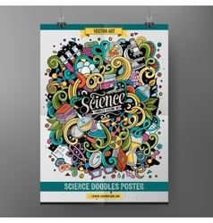 Cartoon colorful hand drawn doodles science poster vector