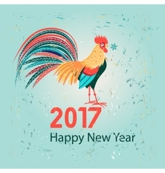 Christmas greeting card with a rooster vector image vector image