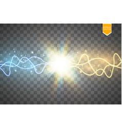 Collision of two forces with gold and blue light vector