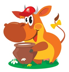 cow with milk vector image vector image