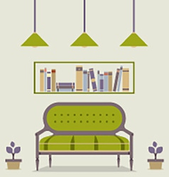 Flat Design Interior Vintage Sofa and Bookshelf vector image