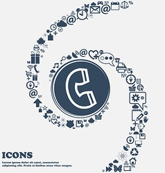 handset icon sign in the center Around the many vector image