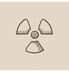 Ionizing radiation sign sketch icon vector